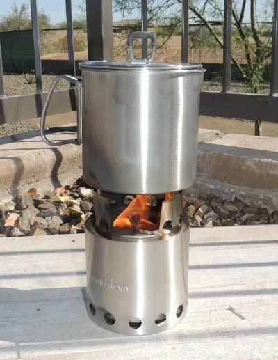 Solo Stove With a Nice Fire Going   Backdoor Survival