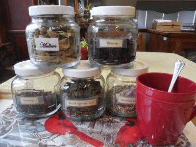 herbal teas stacked in jars