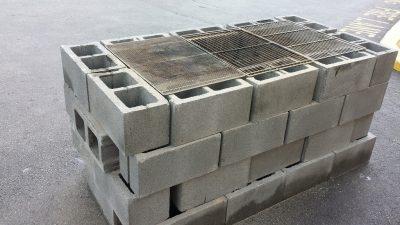cinder blocks barbecue
