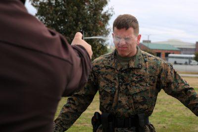 Marines feel the burn during OC spray training