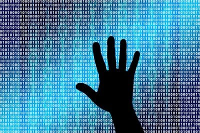 hand on binary numbers cyber computer