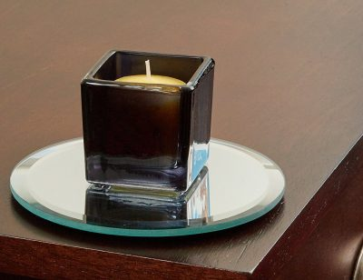 5 Inch Round Mirror Candle Plate with Bevelled Edge set of 12