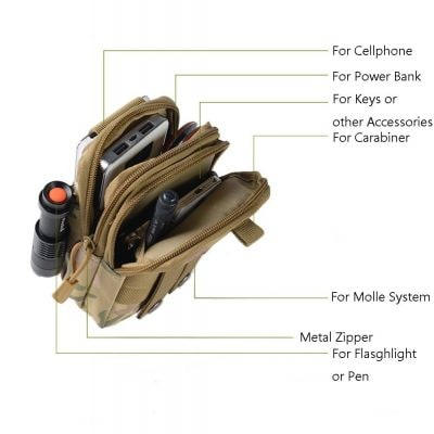 Zeato Tactical Molle Pouch EDC Utility Gadget Belt Waist Bag Pocket Organizer with Cell Phone Holster