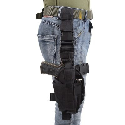 Eilin Tactical Gun Holster Thigh Drop Leg Bag Belt Cross Over Nylon Military Pistol Magazine Pouch