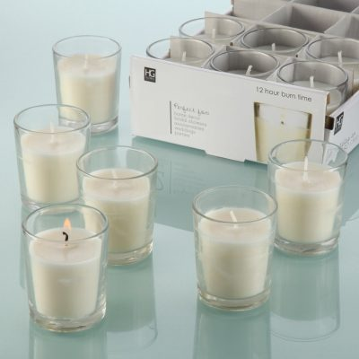 Hosley's Set of 48 Unscented Clear Glass Wax Filled Votive Candles
