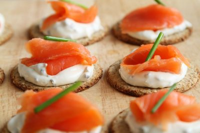 cracker with salmon