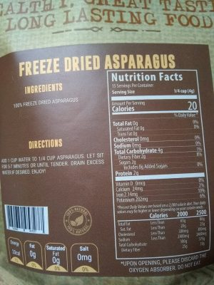 valley food storage freeze dried asparagus review nutrition