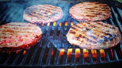 burger patties grill fire