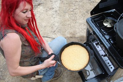 camp chef camping oven outdoors cooking cornbread