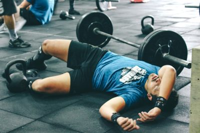 guy exhausted gym