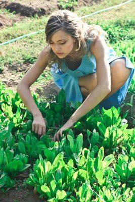 girl plants gardening