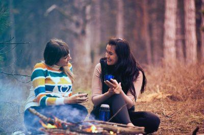 girls talking in woods