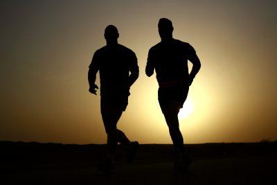 running men sunset