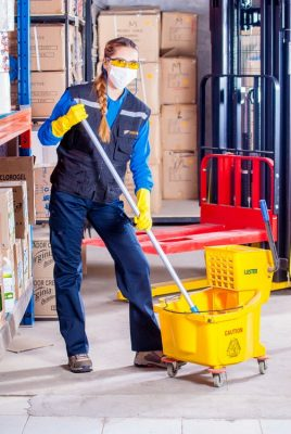woman cleaning mopping floors