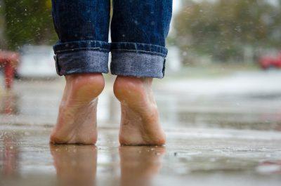feet on the rain