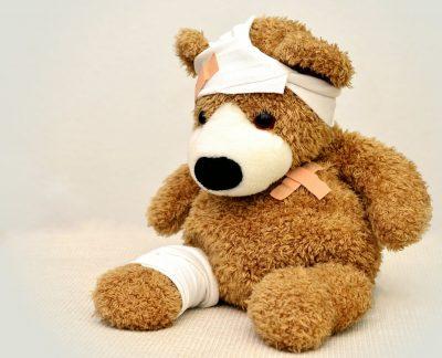 teddy bear hurt ill